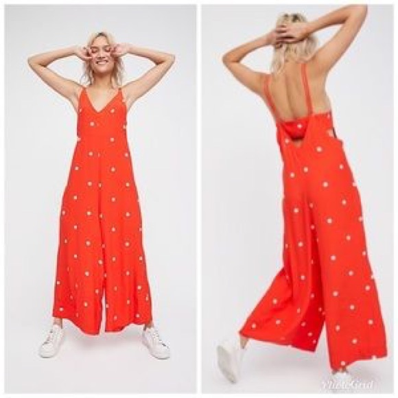 cf92a28cdab Free People Pants - NWOT Free People Dream Big Red Polka Dot Jumpsuit